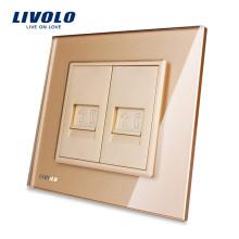Livolo Gold Панель из хрустального стекла VL-C792T-13 Wall 2 Gang RJ11 Телефонная розетка