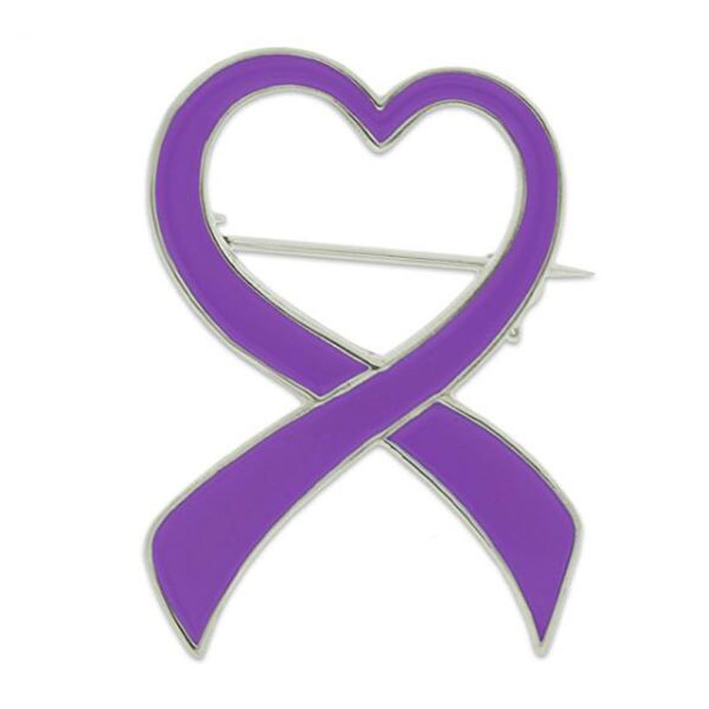 Heart Domestic Violence Awareness Ribbon Brooch Pin