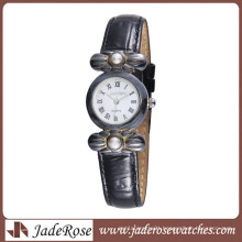 Vintage Style Watch Alloy Watch with Learther Band