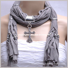 2014 Pendant Scarf Unique Jersey Jewelry Scarf Best Promotion Scarves