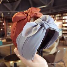Wholesale New fashion fabric headband double layer bowknot hairband pure color cross headband hair accessories for women