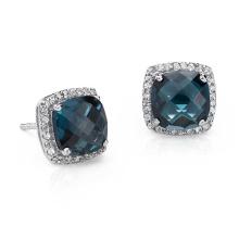 Pendientes de perlas azules Topaz Halo en plata esterlina (8X8mm)