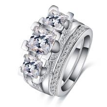 White Gold Diamond Wedding Jewelry Rings Sets (CRI0513-B)
