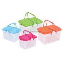 Charming design eco friendly colorful PP plastic handle basket