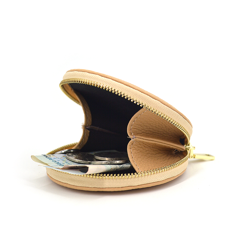 Round Pu Leather Coin Purse Wallet Money Pouch
