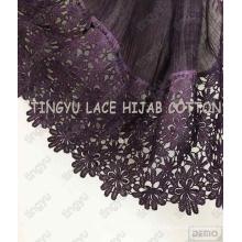 Popular charming good quality muslim style lace cotton wide hijab shawl scarf
