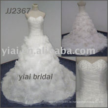 JJ2367 Handgemachtes Blumen-Ballkleid-Schatz trägerloses Hochzeitskleid 2013