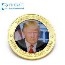 Custom design metal 3D printing epoxy american gold US president commemorative souvenir novelty donald trump challenge coin