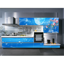2016 Blue 3D Glass Kitchen Cabinet