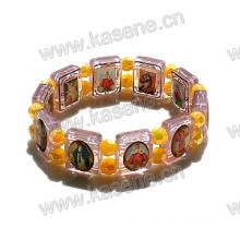 Neue Art-Goldkatholische Epoxy-Heiliges Bild-Plastik-Rosenkranz-Armband