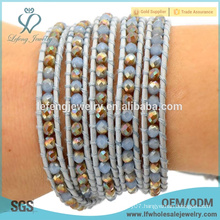 Hot sale accessories jewellery multi wrap bracelet crystal leather bracelet