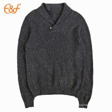 Pull à col châle en laine tricoté pour homme