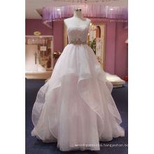 Strapless Lace Organza Pink Evening Dress Bridal Wedding Dress