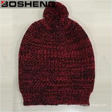 Sombrero de punto de invierno con rojo y negro de invierno de las mujeres con POM