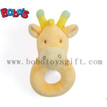 "6""Orange Giraffe Soft Ring Rattle Baby Toy"