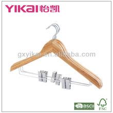 Cabide de camisa de bambu com clipes de metal 2pcs