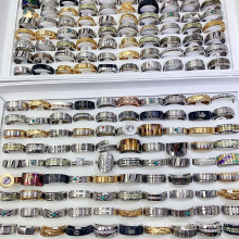 Wholesale Super Cheap Rings 20 Pieces Rings 10$ Men Women's Stainless Steel Ring Bracelet Mixed Batch
