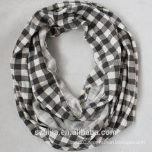 Fashion ladies jersey knit plaid infinity scarf