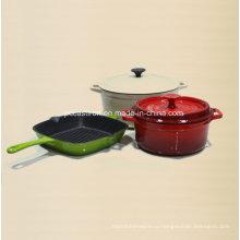 Эмаль чугунная посуда в 3PCS для европейской страны
