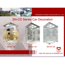 Elevator Cabin with Concave Golden Panel (SN-134)