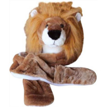 Lion Animal Hat with cuddly faux fur scarf and mitten warm cap