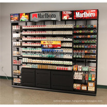 Advertising Interactive Display Fixture Metal Wall Mount Tabacco Shop Large Cigarette Display Cabinet
