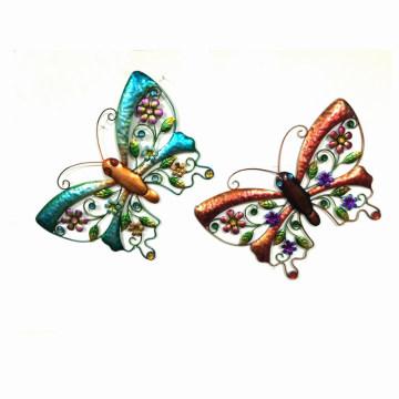 2 Asst Garden Colorful Butterfly Décoration murale en métal