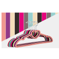 ABS velvet flocked hangers for clothes with heart shape tie bar