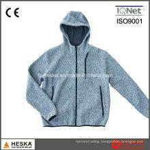 Custom Fleece Men Melange Gray Knitted Jacket