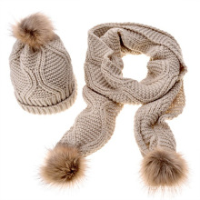 Premium cheap wholesale winter warm pom pom knitted hat and scarf set