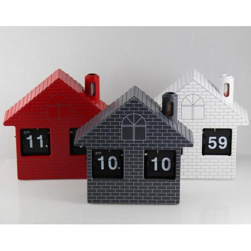 Red House Flip Clock Jam Meja