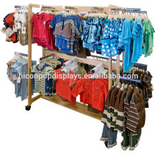 Kinder Kleider Einzelhandel Hölzerne Haning Display Hölzerne Eisen Bewegliche Kinder Kleidung Gondel