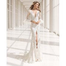 Falbala Long Sleeve Deep V Neck Front Split Lace Bridal Prom Dress Wedding Gown