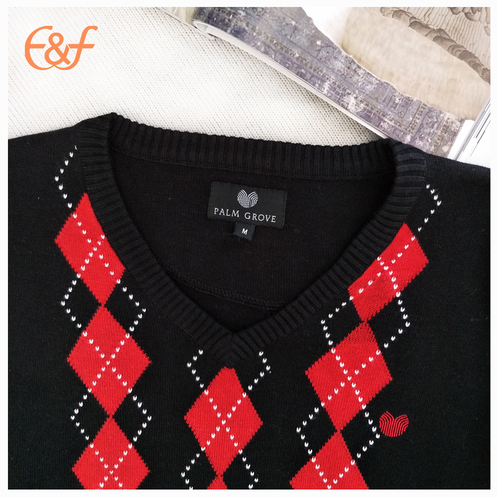 Red black jacquard sweater