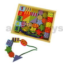 Madera de cuentas de perlas de juguete en caja de madera (80168)