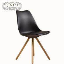 Alibaba China Lieferanten neues Produkt Leder Kissen Holzbein kommerziellen Tulpe Kunststoff Stuhl