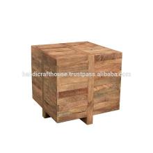 Mesa de centro de madera maciza del cubo