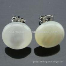 Boucles d'oreilles Hawaiian White Plumeria Round Shell Stud Earrings EF-014