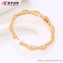 51412 Forma simple de alta calidad de 20 gramos chapado en oro brazalete de moda de aleación de cobre para mujeres