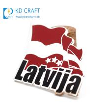 Wholesale bulk buy from china promotional custom metal hard enamel national day latvija country flag pin badge