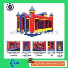 Curso de obstáculo inflable adulto caliente, inflables interactivos, obstáculo inflable bouncy para la venta