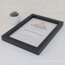 Custom Different Size Luxury Wooden Black Gold Strip Certificate Documents Display frame