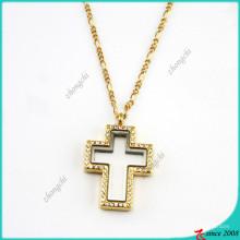 Cruz de cristal de ouro flutuante medalhão pingente de colar de jóias (fl16040836)
