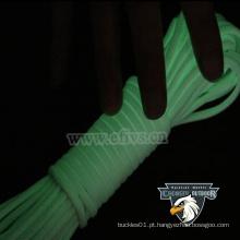 Brilho em corda de nylon escuro 2mm 4mm paracord para acampar ao ar livre