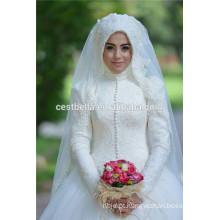 Vestido de casamento muçulmano de manga longa A-line 2016 Vestido de casamento de noiva muçulmana