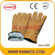 Искусственная кожа натуральной кожи Полная боа-подкладка Зимняя защитная рабочая перчатка (12305)