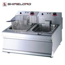 K016 Portable Counter Top Fast-Food-Ausrüstung Restaurant 2-Tank 2-Basket Elektro Friteuse