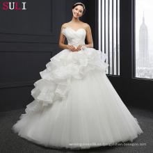 SL-038 La nueva llegada Tulle rebordeó el vestido de boda del vestido de bola de los Appliques 2016