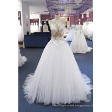 Champagne Top Lace Bodice Tulle Bottom Wedding Dress