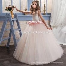 Западные последний дети наряды с круглым вырезом и линией тяжелых бисером новая модель девушка платье для девочки